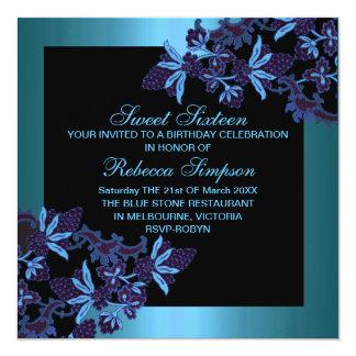 Sweet Sixteen Floral Blue Birthday Invitation