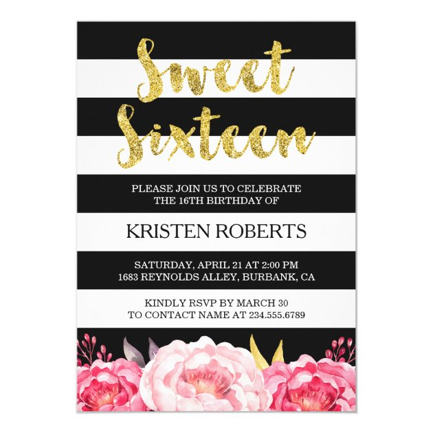 Sweet Sixteen Floral Gold Black White Stripes Card