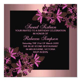 Sweet Sixteen Floral Pink Birthday Invitation