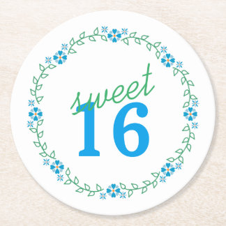 Sweet Sixteen Floral Wreath Blue Green Round Paper Coaster