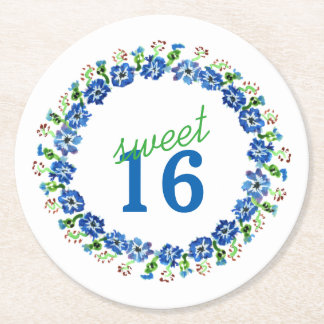 Sweet Sixteen Floral Wreath Paper Coasters