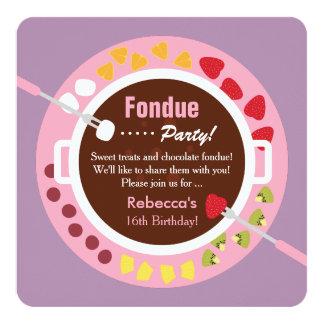 Sweet Sixteen Fondue Girls Birthday Party Card