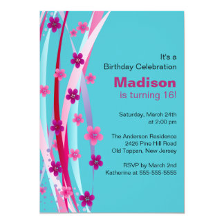 Sweet Sixteen Foral Ribbons Birthday Invite