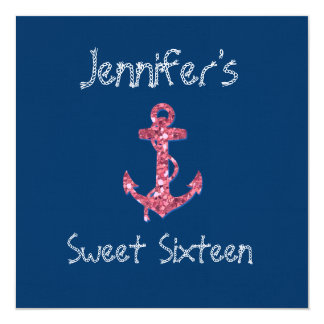Sweet Sixteen Girly, Nautical Pink Glitter Anchor Personalized Announcements
