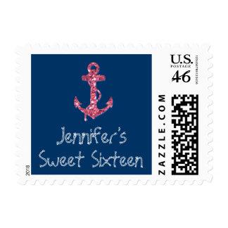 Sweet Sixteen Girly, Nautical Pink Glitter Anchor Stamp