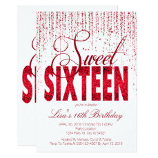 Sweet Sixteen, Glam Red Glitter Invitations