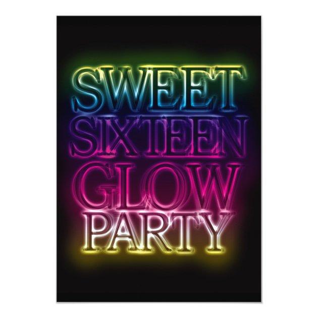 Sweet Sixteen GLOW PARTY Glow in the Dark Card | Zazzle.com