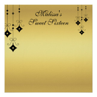 Sweet Sixteen Gold and Black Sign in Board