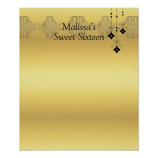 Sweet Sixteen Gold and Black Sign in Board Poster : Zazzle