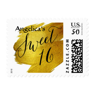 Sweet Sixteen Gold Foil Paint Brush Stroke Postage