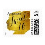 Sweet Sixteen Gold Foil Paint Brush Stroke Postage Stamp