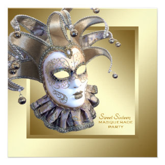 Sweet Sixteen Gold Masquerade Party Invite