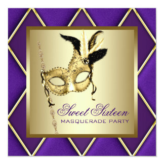 Sweet Sixteen Gold Purple Masquerade Party Card