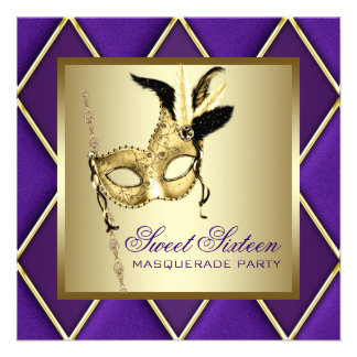 Sweet Sixteen Gold Purple Masquerade Party Invites