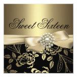 "Sweet Sixteen Gold Rose Birthday Invitation 5.25"" Square Invitation Card"