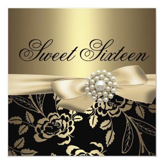Sweet Sixteen Gold Rose Birthday Invitation