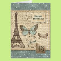 Sweet Sixteen Happy Birthday Greeting Cards
