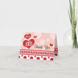 Sweet Sixteen Heart Thank You Card card