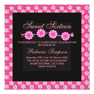 Sweet Sixteen Hot Pink Flower Birthday Invitation