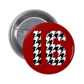 Sweet Sixteen Houndstooth Print 2 Inch Round Button