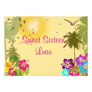 Sweet Sixteen Invitation Hibiscus Hawaiian Luau