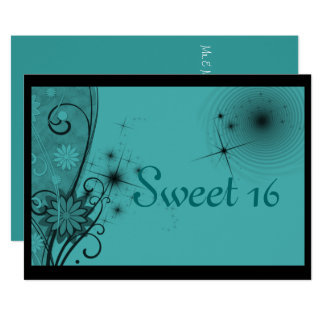 Sweet Sixteen Invitation, Turquoise and Black Card