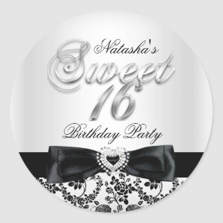 Sweet Sixteen Jewel Bow & Lace Silver Sticker