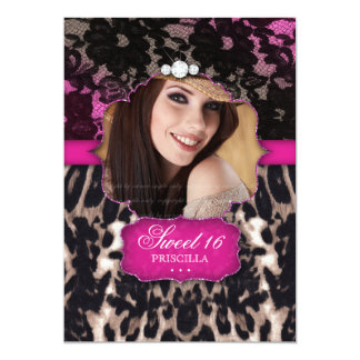 Sweet Sixteen Leopard Lace Invitation Pink Brown