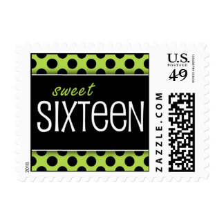 Sweet Sixteen Lime & Black Dots Postage Stamps