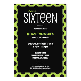 Sweet Sixteen Lime & Black | Party Invitations