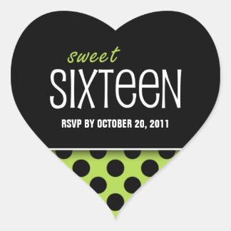 Sweet Sixteen Lime Green Polka Dot | RSVP Heart Sticker
