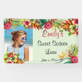 Sweet Sixteen Luau, Red Hibiscus, Custom Banner