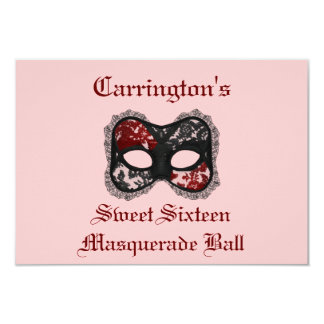 """Sweet Sixteen Masquerade Ball"" Red/Black Mask [a] Card"