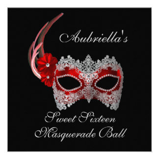 Sweet Sixteen Masquerade Ball Red White Mask w Personalized Invite