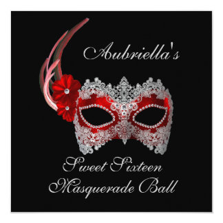 """Sweet Sixteen Masquerade Ball"" Red/White Mask w/  5.25x5.25 Square Paper Invitation Card"
