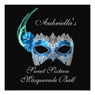 """Sweet Sixteen Masquerade Ball"" Turquoise Mask w/  Custom Invites"