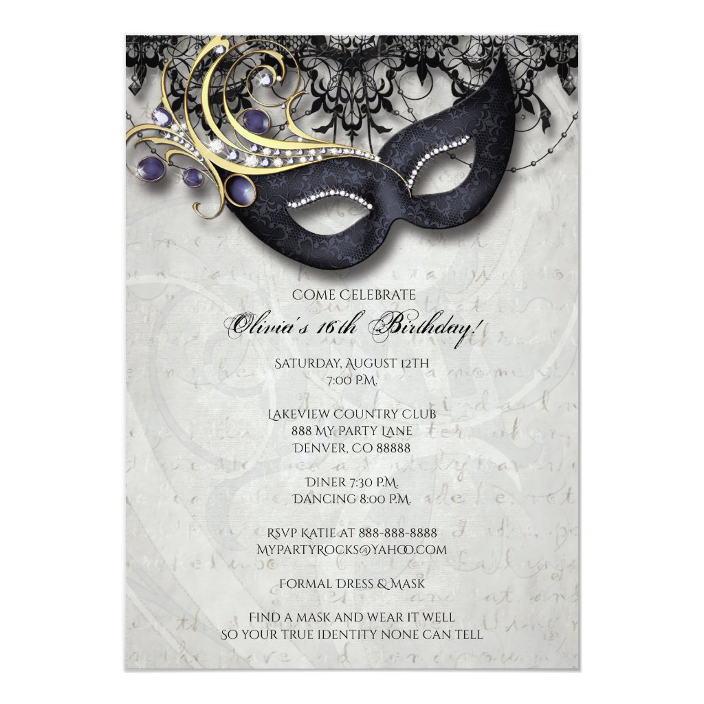 Sweet Sixteen Masquerade Invitation