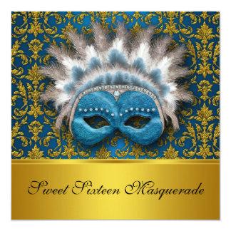 "Sweet Sixteen Masquerade Invitation 5.25"" Square Invitation Card"