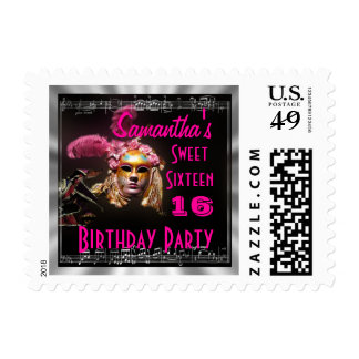 Sweet sixteen masquerade postage stamp