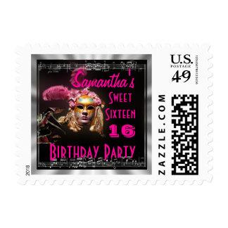 Sweet sixteen masquerade stamp