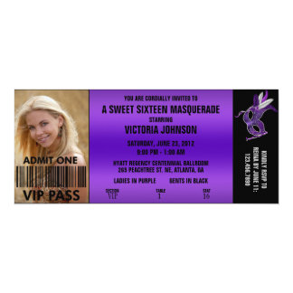 Sweet Sixteen Masquerade VIP Admission Ticket 4x9.25 Paper Invitation Card