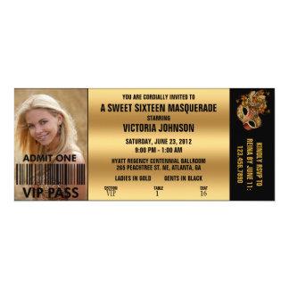 Sweet Sixteen Masquerade VIP Admission Ticket 4x9.25 Paper Invitation Card
