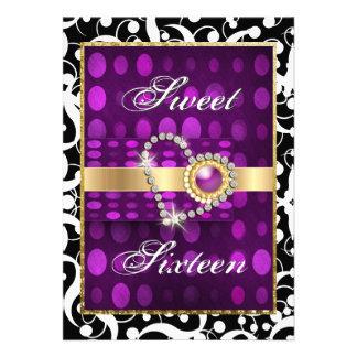 Sweet sixteen modern valentine party purple custom invitations