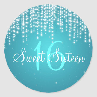 Sweet Sixteen Night Dazzle Blue Round Stickers