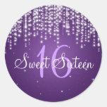 Sweet Sixteen Night Dazzle Purple Round Stickers