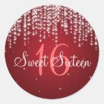 Sweet Sixteen Night Dazzle Red Round Sticker