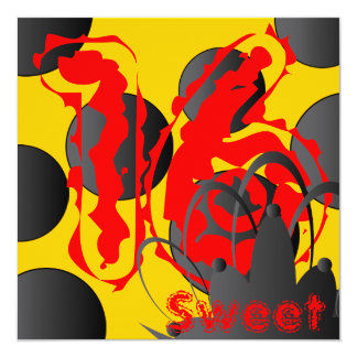 Sweet Sixteen On Fire Invitation- Customize Card
