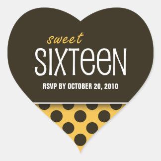 Sweet Sixteen Orange Giraffe Polka Dot | RSVP Heart Sticker