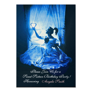 "SWEET SIXTEEN PARTY,BLUE BLACK DAMASK Champagne 5"" X 7"" Invitation Card"