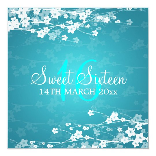Sweet Sixteen Party Cherry Blossom Blue Card